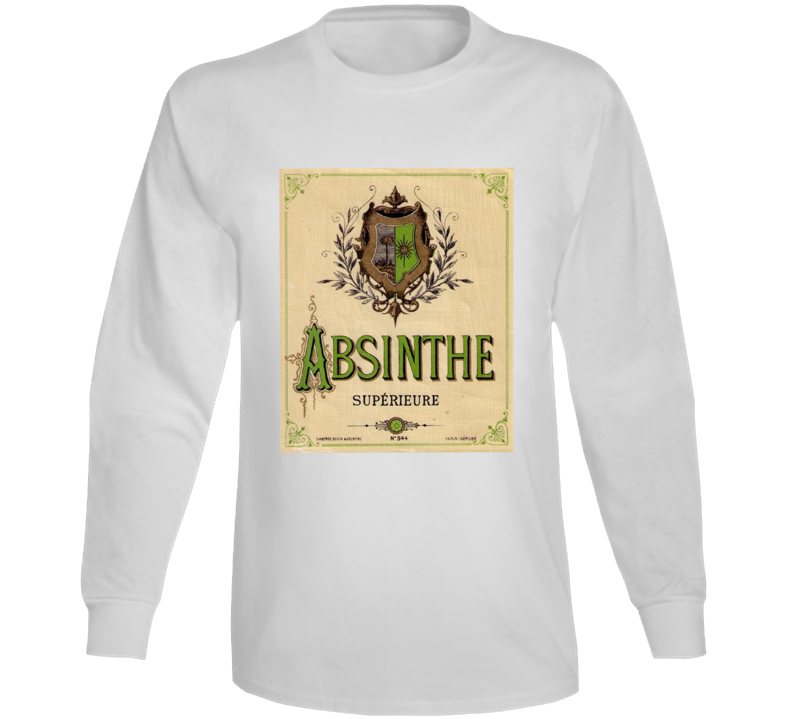 Absinthe Superieure Antique Bottle Label Alcohol Lovers Long Sleeve