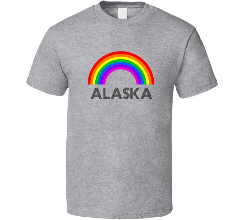 Alaska Rainbow City Country State Pride Celebration T Shirt