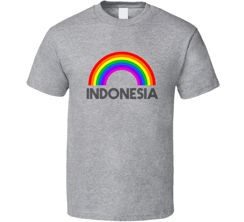 Indonesia Rainbow City Country State Pride Celebration T Shirt