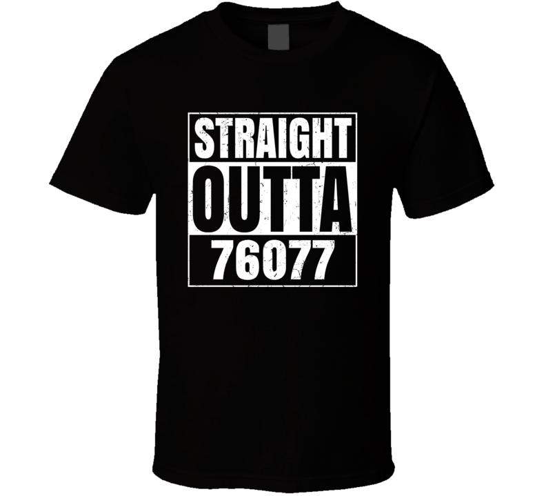 Straight Outta 76077 Rainbow Texas Parody Grunge T Shirt