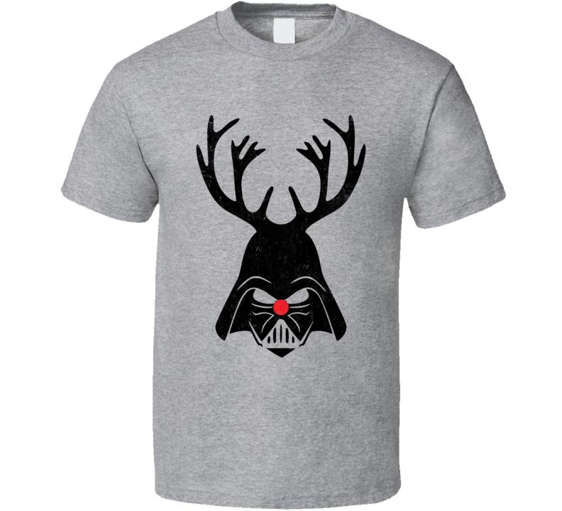 Darth Vader Deer Funny Xmas Christmas SciFi Geek Worn Look T Shirt