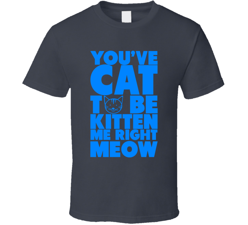 You've Cat To Be Kitten Me Right Meow Funny Feline Slogan T Shirt