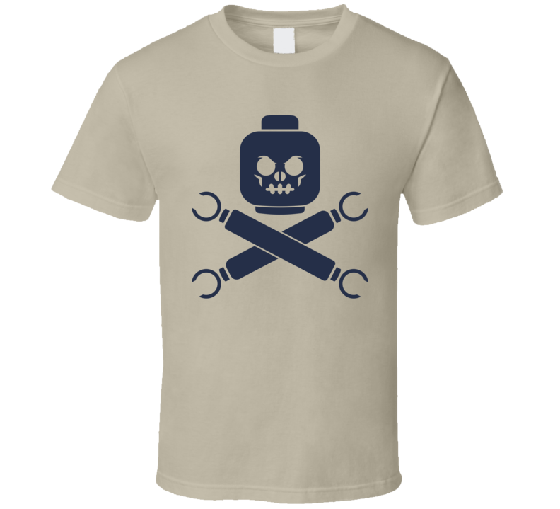 Jolly Roger Pirate Flag Block Head Toy Geek T Shirt