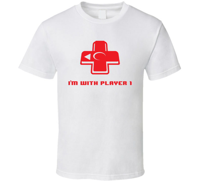 I'm With Player One Funny Retro Video Game Arcade T Shirt