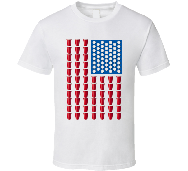 Beer Pong American Flag Fun 22 Jump Street Movie T Shirt
