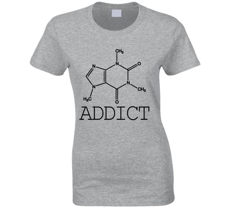 Coffee Addict Funny Caffeine Addiction Geek Nerd Molecule Science Graphic T Shirt