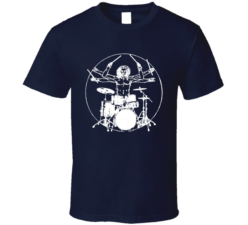 Da Vinci Drummer Fun Vintage Rock Graphic T Shirt