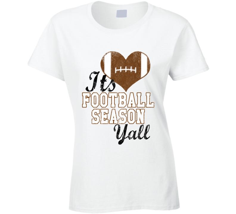 Its Football Season Yall Fun Heart Sports Graphic Tee Shirt