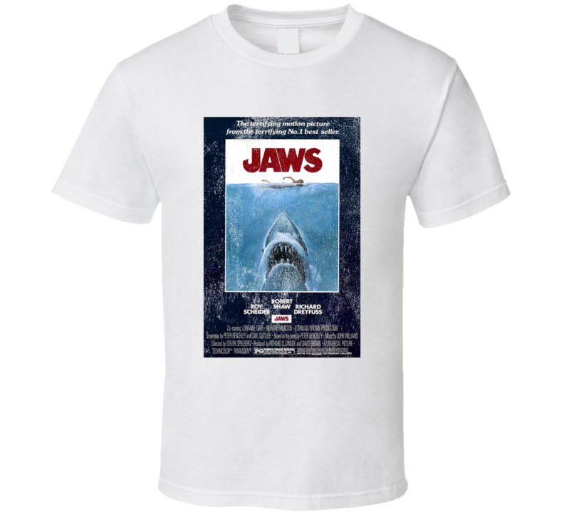 Vintage Jaws Movie Poster Scary Shark Graphic Movie Tee Shirt