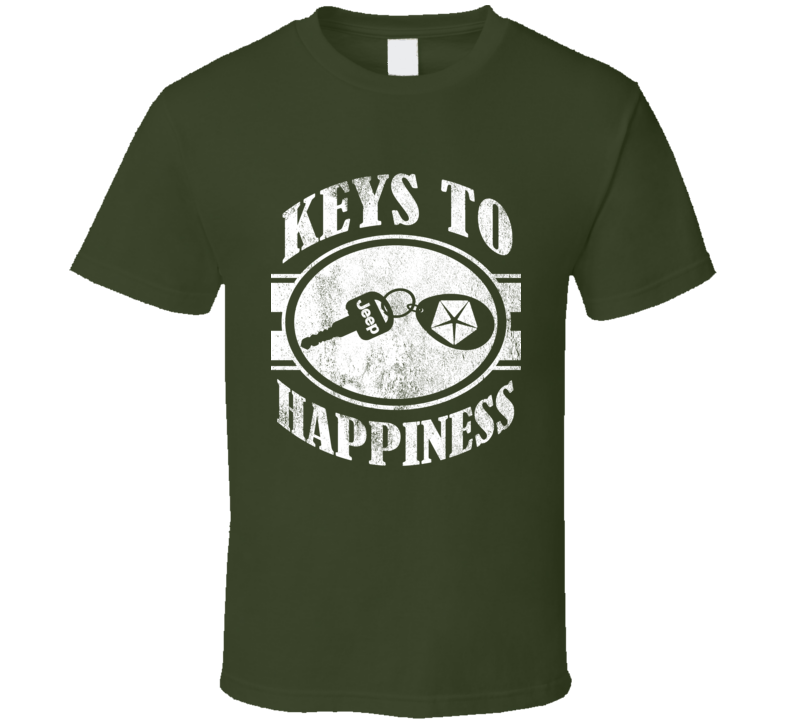 Keys To Happiness Jeep Lover Wrangler TJ Vintage Style Graphic Car Tee Shirt
