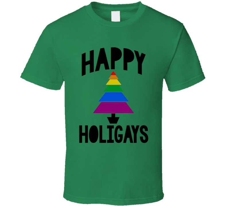 Happy Holigays Fun LGBT Holiday Graphic Tree Apparel T Shirt