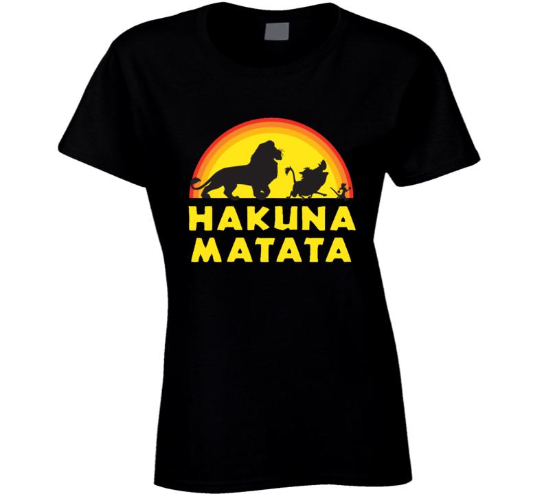 Hakuna Matata Fun Popular Simba Timon Pumbaa Graphic Tee Shirt