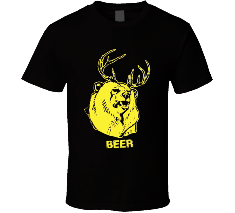 Beer Funny Bear Deer Antlers Graphic Distressed Tee Shirt