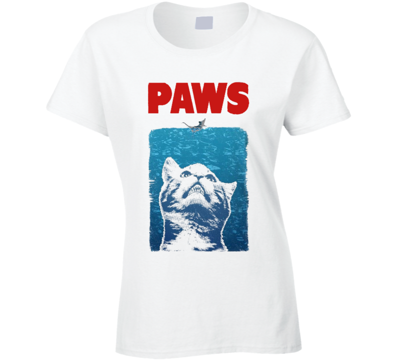 Paws Funny Jaws Parody Graphic Movie Poster Tee Shirt