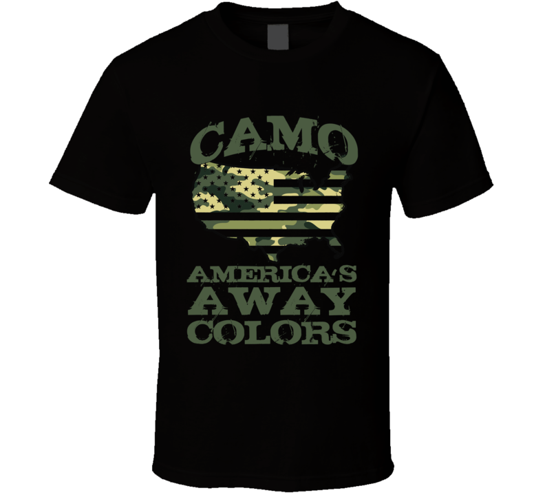 Camo Americas Away Colors Fun Usa Soldier Camouflage Graphic T Shirt