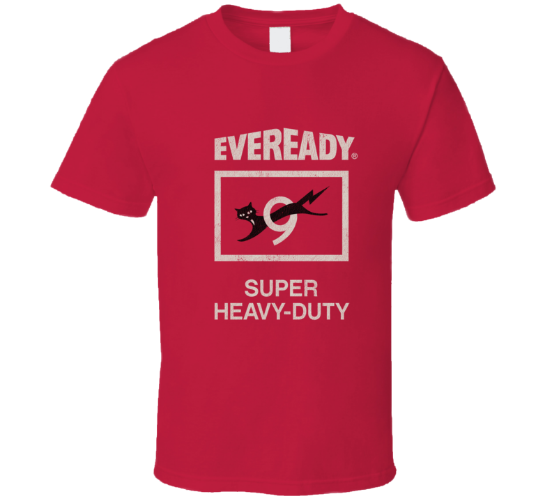 Eveready, T-shirt, Black Cat, 9, Nine, Lives,  Retro, Battery, Power, Logo