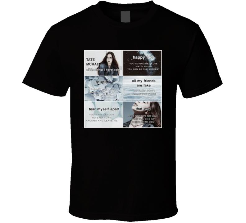 Tate Mcrae Songs Lyrics Music Fan T Shirt