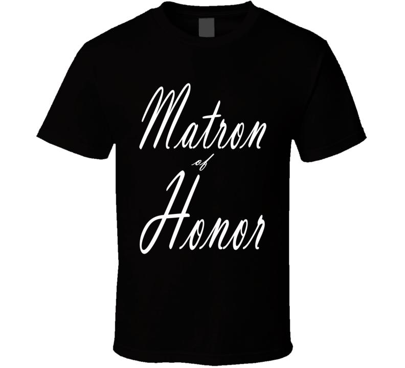 Matron Of Honor Married Best Friend Wedding Bachelorette Party Fun Fan T Shirt