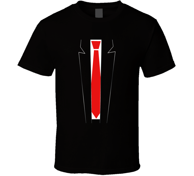 Dark Red Tie  suit funny Emo punk t-shirt