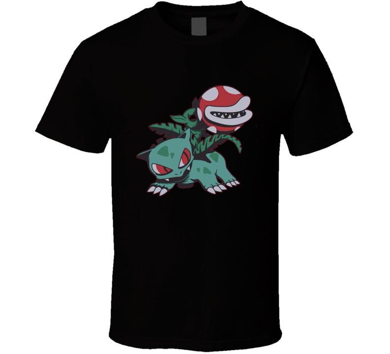 Bulbasaur Piranha Plant t-shirt Pokemon Super Mario Gamer swag