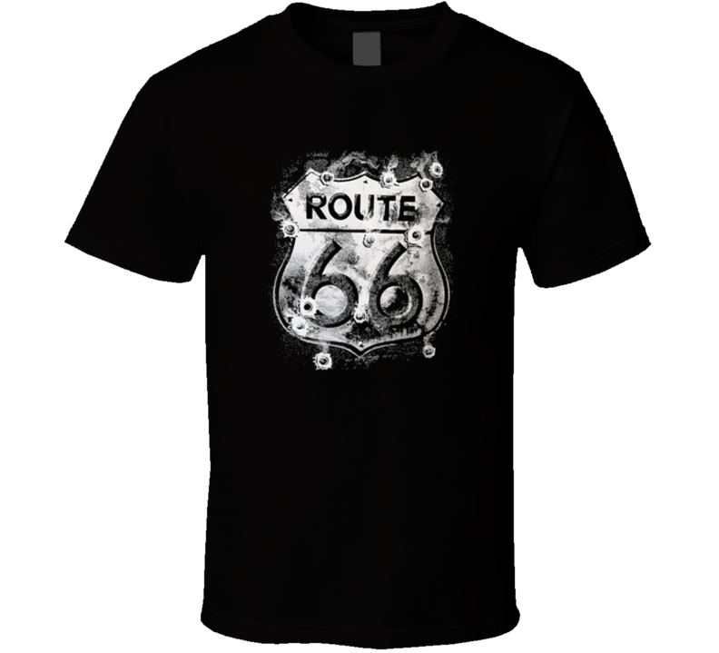 Route 66 t-shirt sign with bullit holes Americana biker wear COOL
