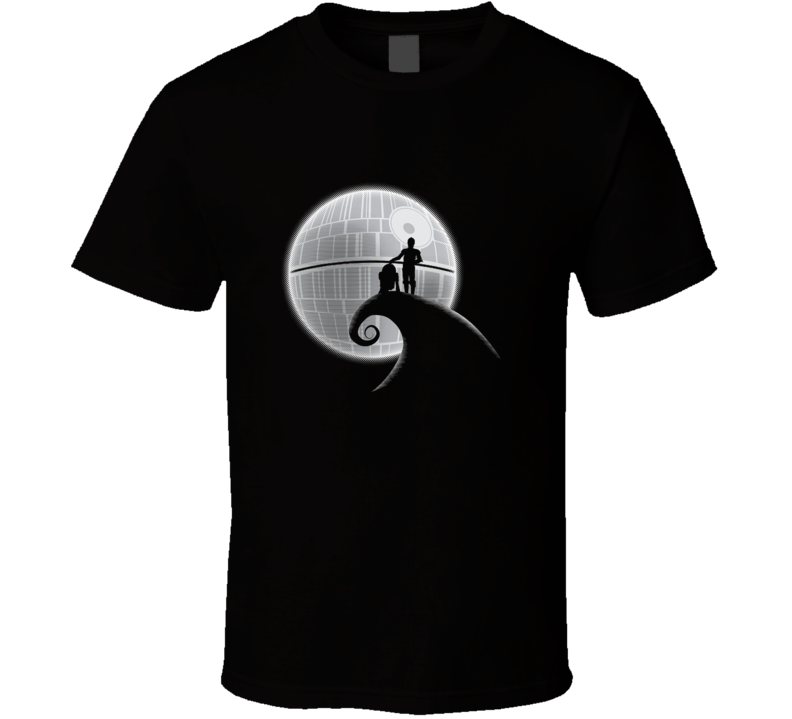 Star Wars Nightmare Before Christmas Parody tee shirt R2D2 C3PO Death star Funny movie t-shirts