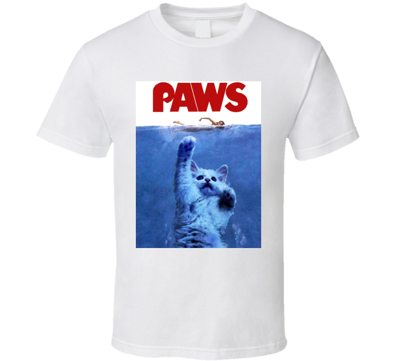 Paws Jaws Shark Attack Funny Cat Movie Parody T Shirt