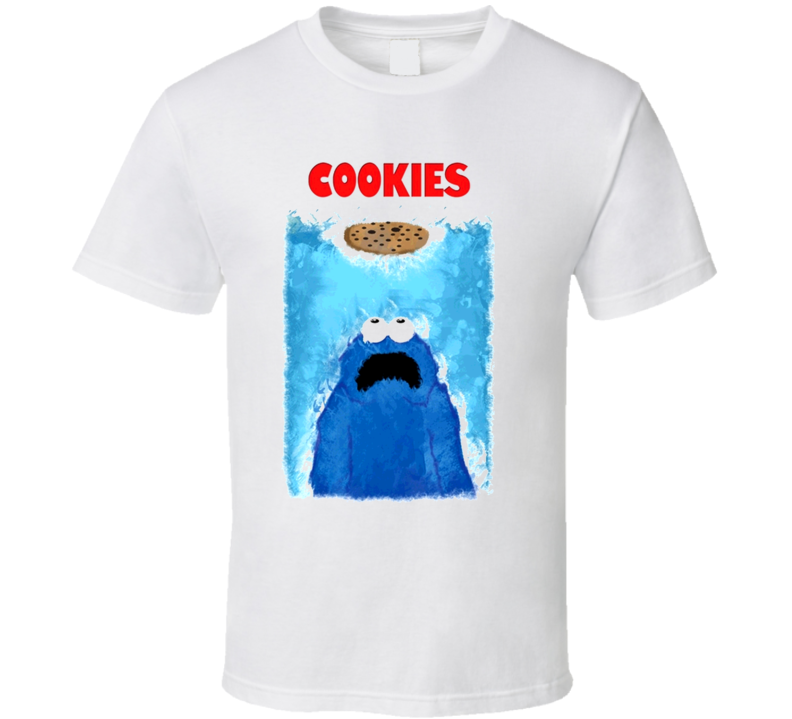 Cookie Monster Jaws Attack Funny Movie Parody T Shirt
