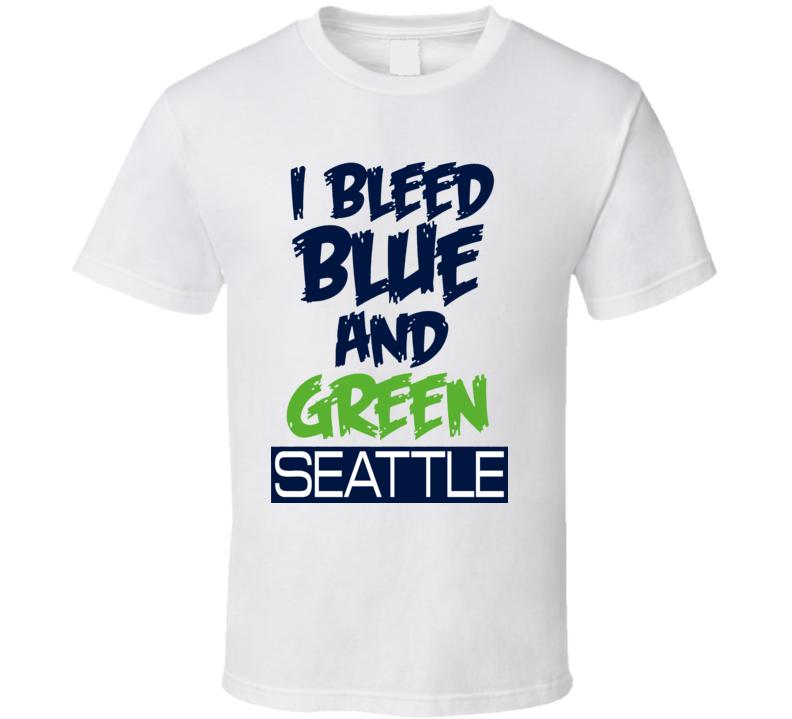 I Bleed Blue And Green Seattle Football Sherman Wilson T Shirt