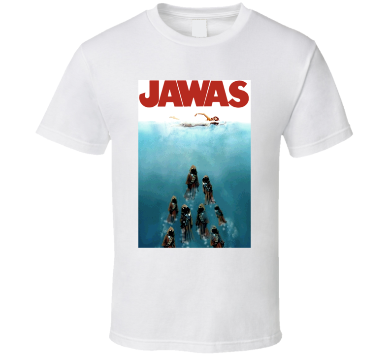 Star Wars Jaws Movie Jawas Attacking Scifi T Shirt