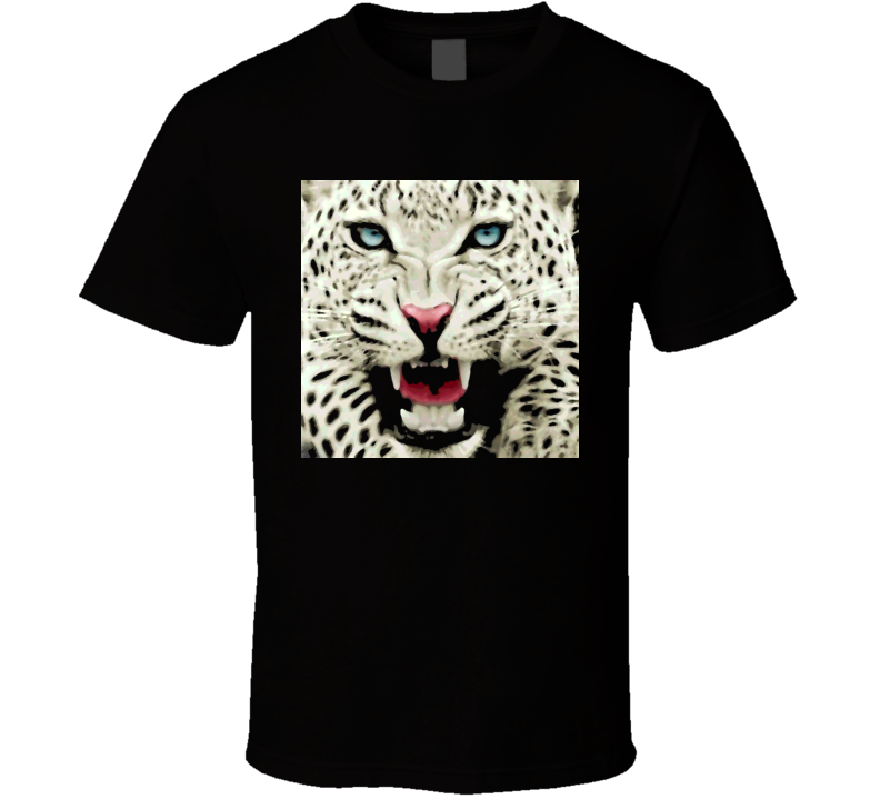Snow Leapord oil print style t-shirt Wild Animal Life t-shirts for black