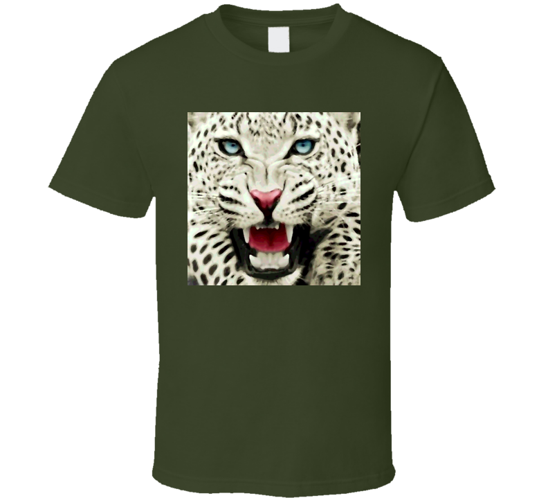 Snow Leapord oil print style t-shirt Wild Animal Life t-shirts for