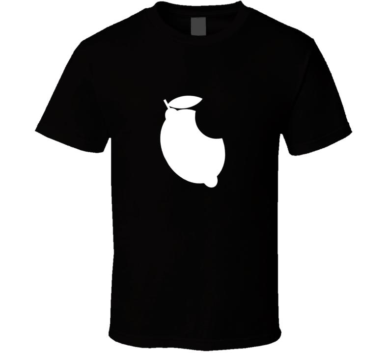 Apple Lemon with bite t-shirt Funny Apple Logo parody smart phone Apps iPhone funnies t-shirts