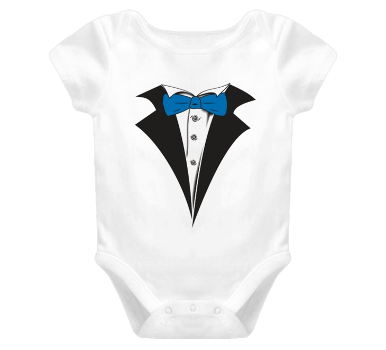 Tuxedo suit with blue tie Baby one Piece t-shirt for Formal baby feeding LoL!