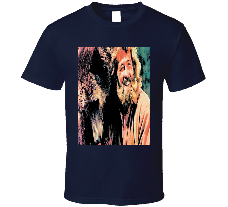 Dan Haggarty Grizzly Adams tribute t-shirt retro TV Wikderness man mountain man Grizzly bear show t-shirt