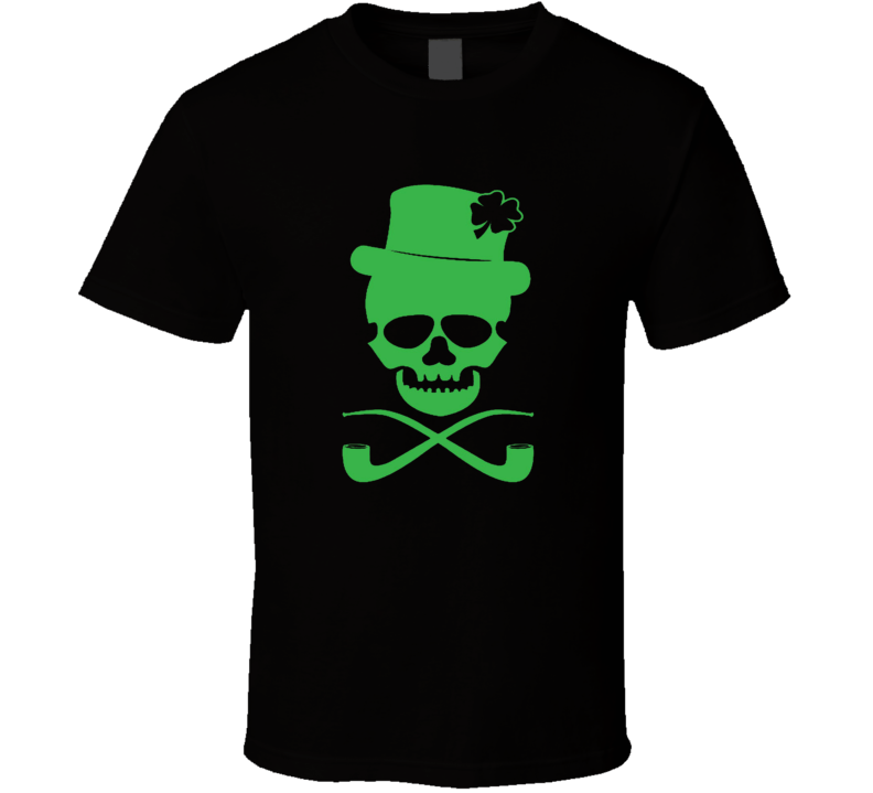 Irish style skull and cross pipes St. Patrick's Day Irish Pride drinking bar soccer t-shirts T Shirt