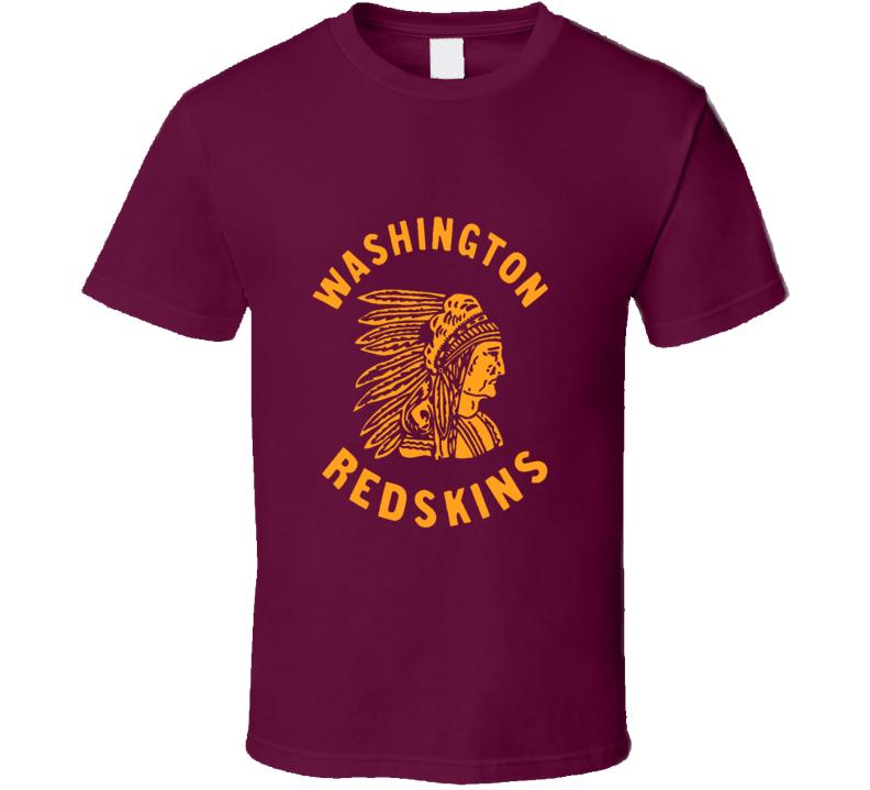 Washington Redskins retro logo Football fan t-shirt Native American head dress logo shirt gold