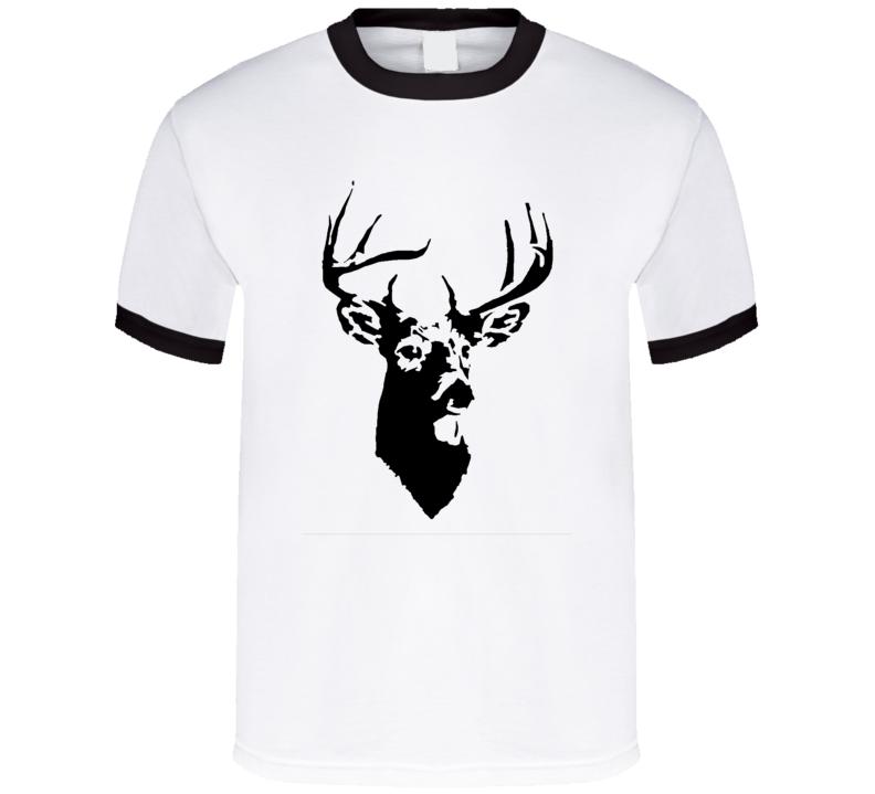 Deer head trophy 10 point buck hunting outdoors man lucky black t-shirt