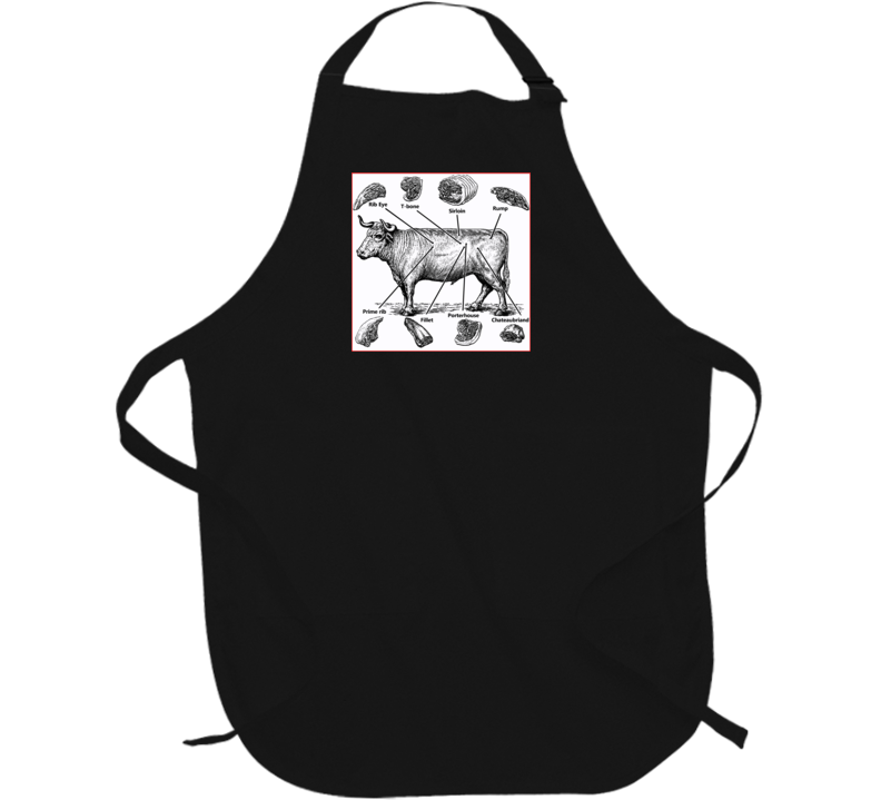 Butcher's Beef map steaks porterhouse BBQ apron gift t-shirts Party camping Black