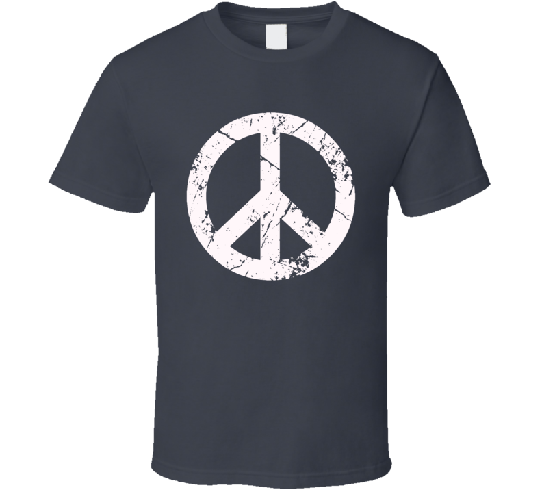 Peace sign grunge distressed style Peace not War anti terror retro hippie inspired t-shirt white