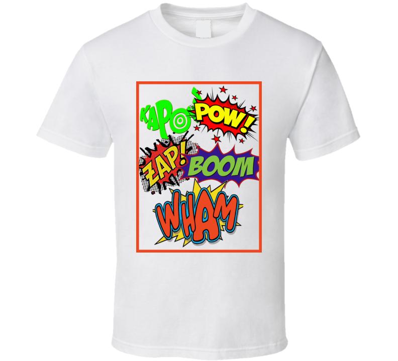 Comic Book words Kapow wham pow Batman comics retro TV cartoon t-shirt