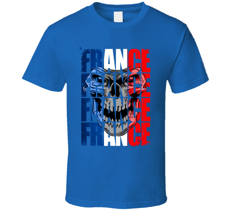 France Sports team fan shirt soccer futbol Olympics Euro distressed skull style t-shirt