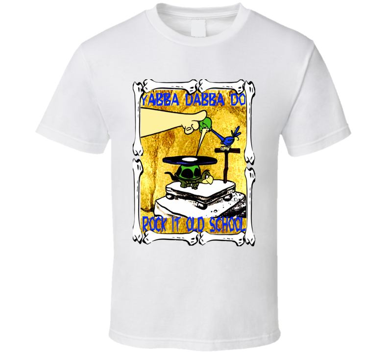 The Flintstones retro cartoon record player bird FUNNY dj club reunion trending t-shirt