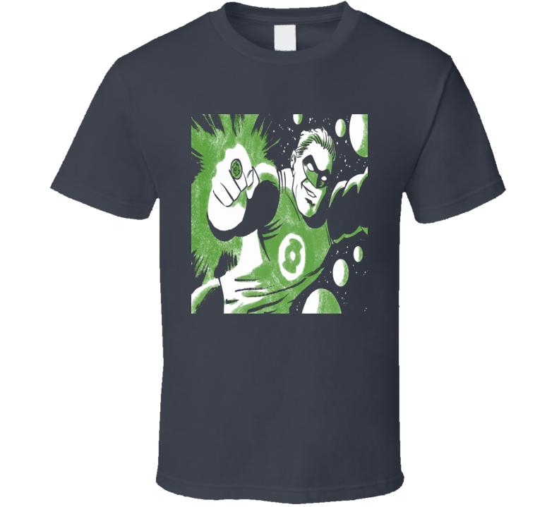 The Green Lantern retro comic book effect old school look fan t-shirt