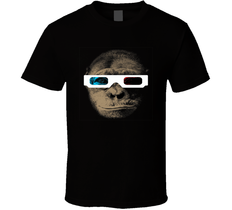Chimp monkey ape with 3D glasses hispter trending retro t-shirt