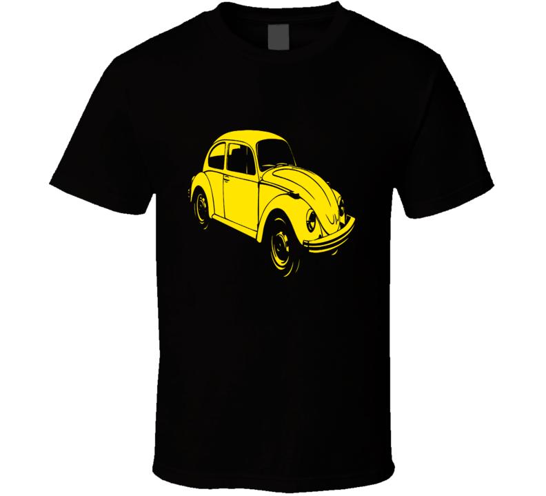VW Beetle Classic Yellow Bug retro Volkswagen car vintage style t-shirt
