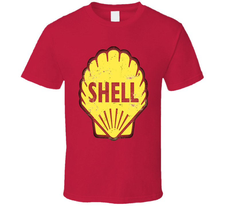 Shell Gas logo retro style distressed aged effect sign t-shirt