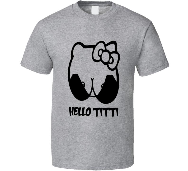 Hello Titti Hello Kitty parody funny video game cartoon t-shirt
