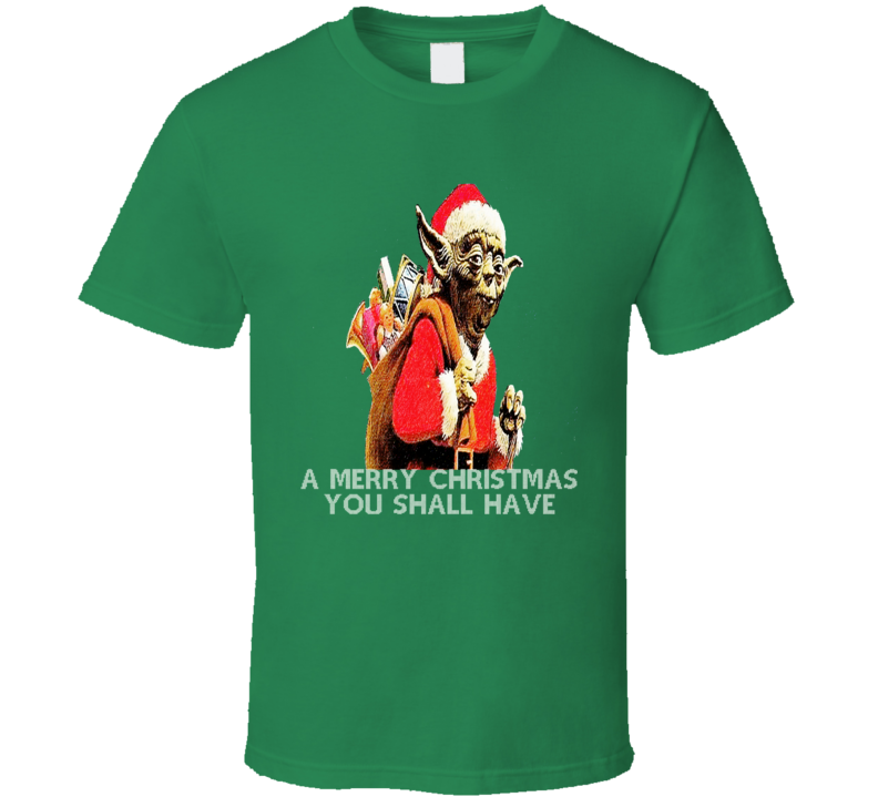 Yoda Star Wars vintage distressed Christmas card effect t-shirt