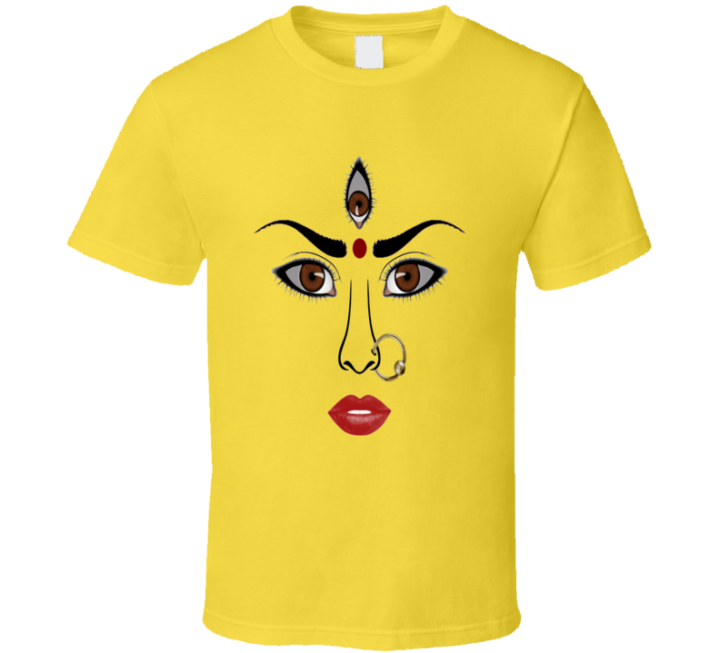 Durga face Indian Women retro Bollywood movie style t-shirt